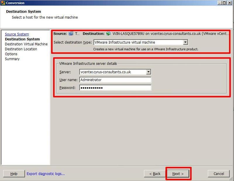VMware vCenter Converter Standalone 5.1 - Specify vCenter Server