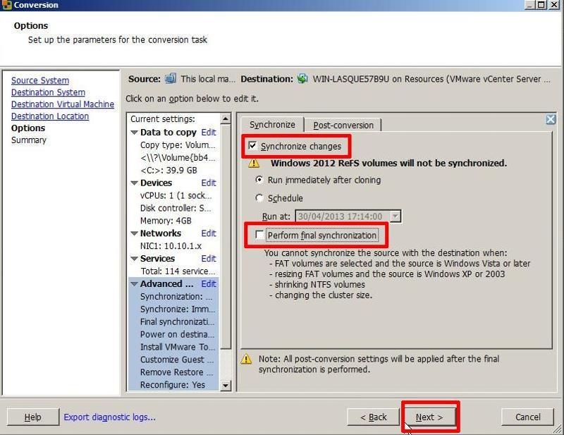 VMware vCenter Converter Standalone 5.1 - Enable Synchronise
