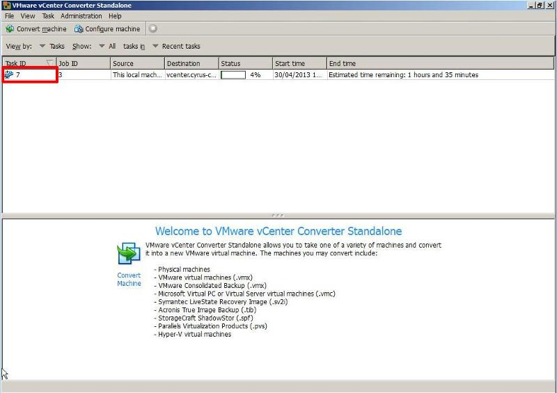VMware vCenter Converter Standalone 5.1 - P2V Job Submitted