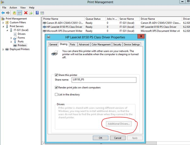 Windows 2012 server - setup print server for both 32bit
