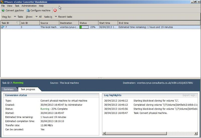 VMware vCenter Converter Standalone 5.1 - Task Progress
