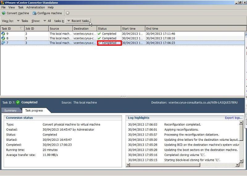 VMware vCenter Converter Standalone 5.1 - Job Status