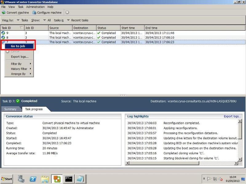 VMware vCenter Converter Standalone 5.1 - Go to Job