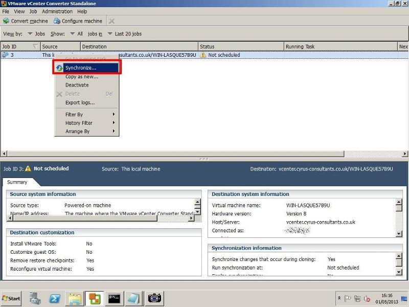 VMware vCenter Converter Standalone 5.1 - Synchronize