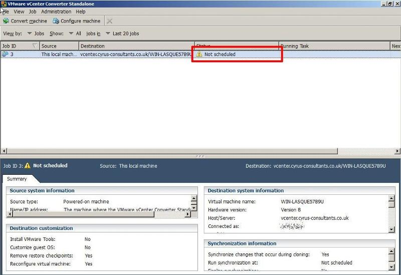 VMware vCenter Converter Standalone 5.1 - Not Scheduled