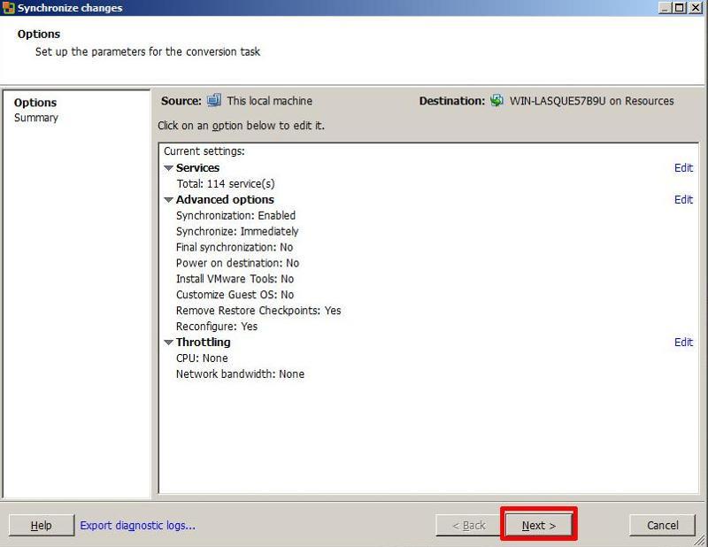 VMware vCenter Converter Standalone 5.1 - Synchronize changes