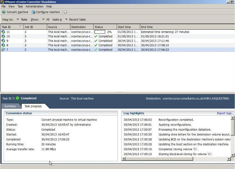 VMware vCenter Converter Standalone 5.1 - Synchronize Task Progress