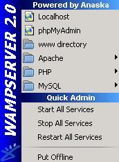 Wamp Server Menu