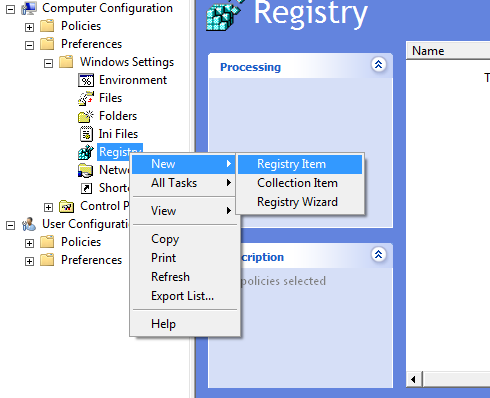 Right click Registry - New - Registry Item
