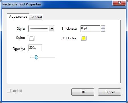 rectangle tool properties