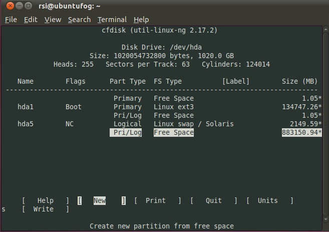 output of cfdisk on the hyper-v guest