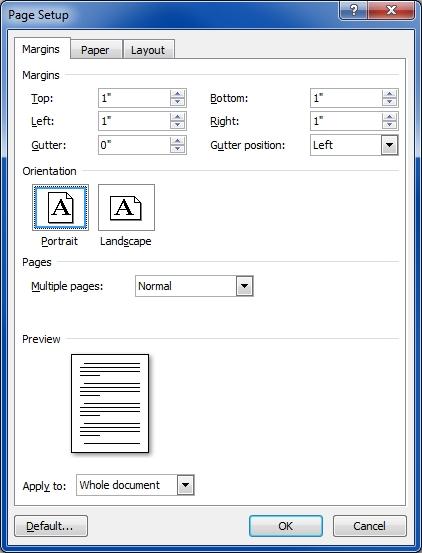 word2007 margins setup