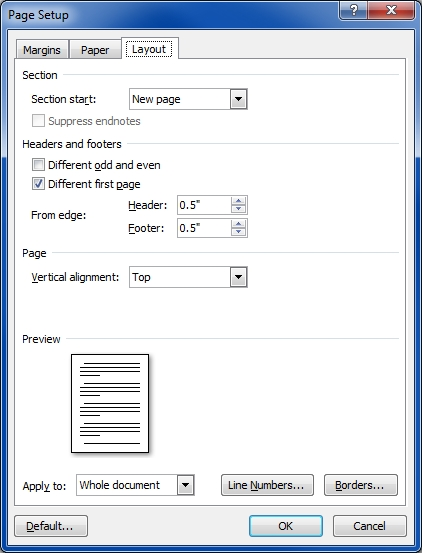 word2007 layout