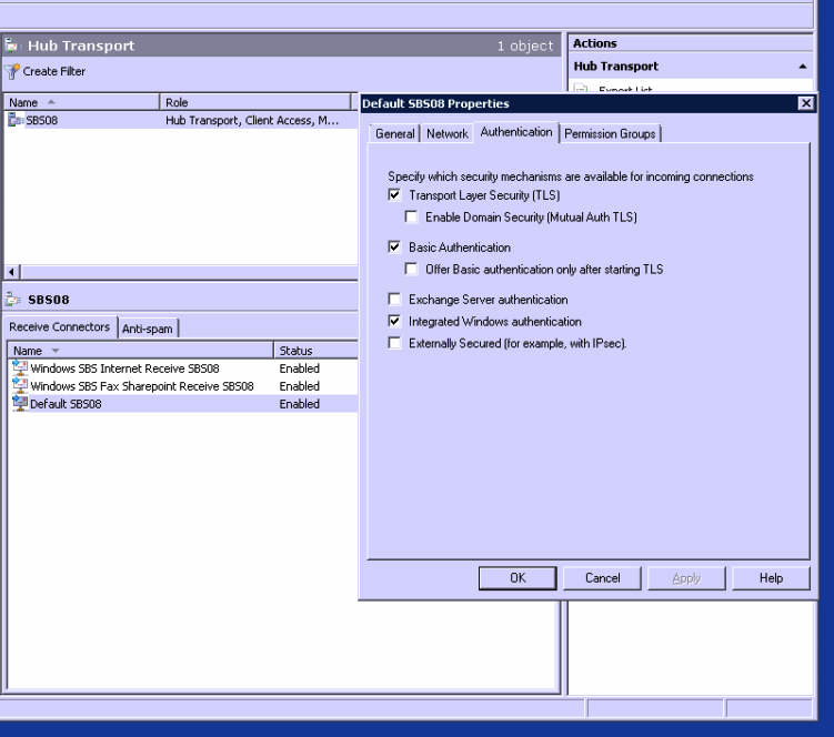 Exchange 2007 - TLS settings