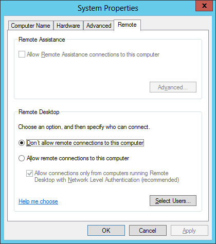 remote desktop setting