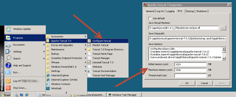 """Configure Tomcat"" screenshot"