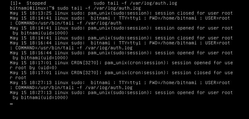 tail -f /var/log/auth