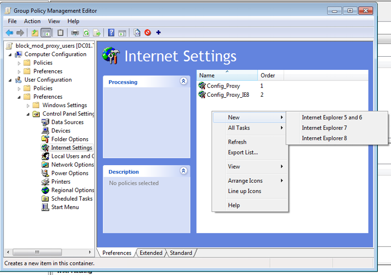 'NO support for IE 10' means: unable to set the preferences for any version of IE beyond IE 8!