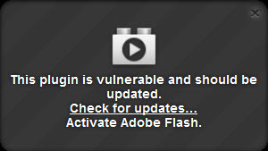 the Firefox 21 flash warning message