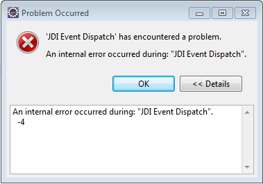 The error message I get prior to debug problems