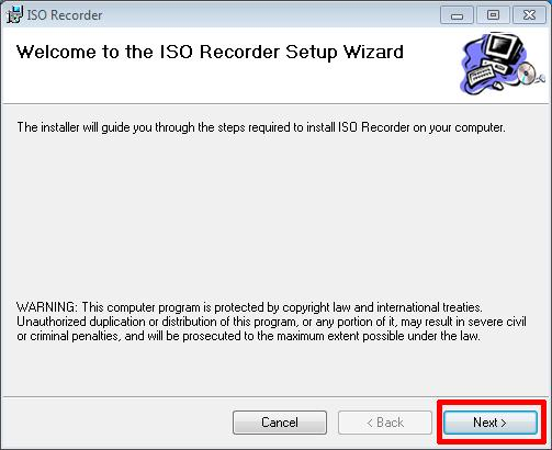 Welcome to the ISO Recorder Setup Wizard