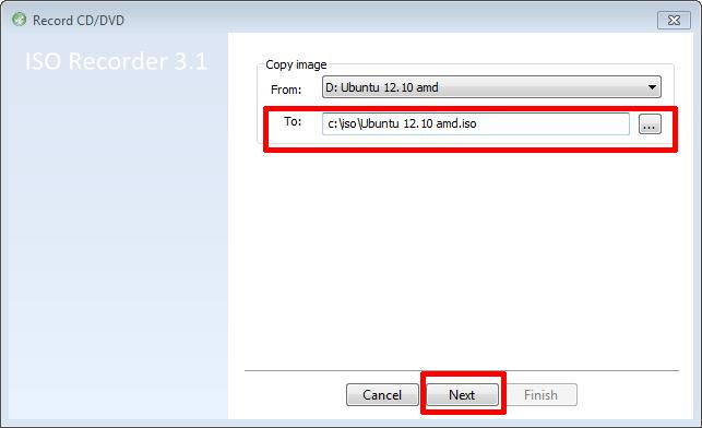 Select Destination for ISO image file