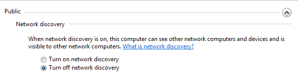 Win7 - Advanced Sharing Settings - Network Discovery