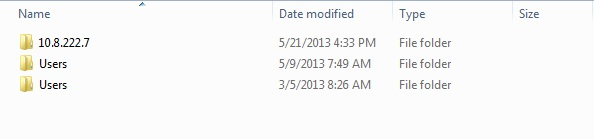 Windows 7 folder results