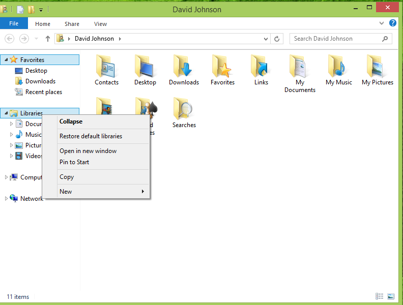 Windows 8 Second item is restore default llibraries