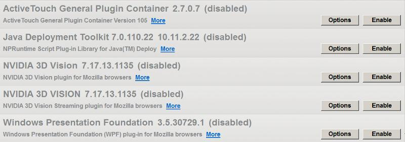 disabled plugins