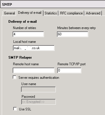 SMTP Screenshot