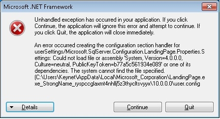 Installation error for SQL Server 2008 R2: LandingPage.exe