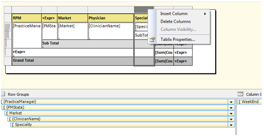 Hiding Row group column in SSRS report