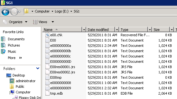series of log files