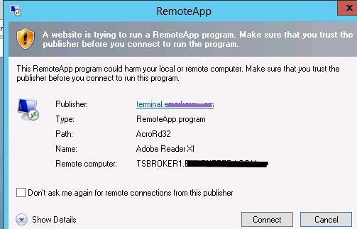 RemoteApps on Windows Server 2012