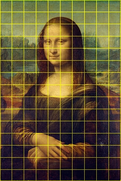 mona lisa with grids