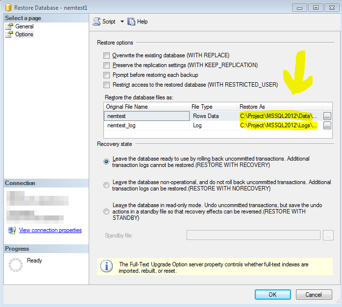 MSSQL Restore dialog box with restore locations highlighted