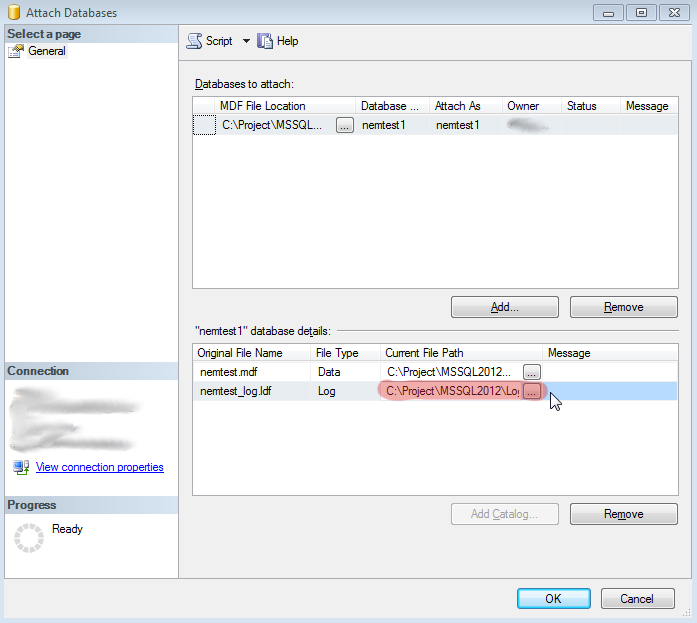 MS SQL Attach Database - specify alternate location of LOG file