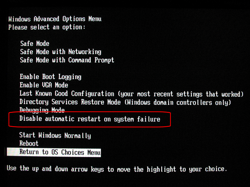 Disable automatic restart on system failure