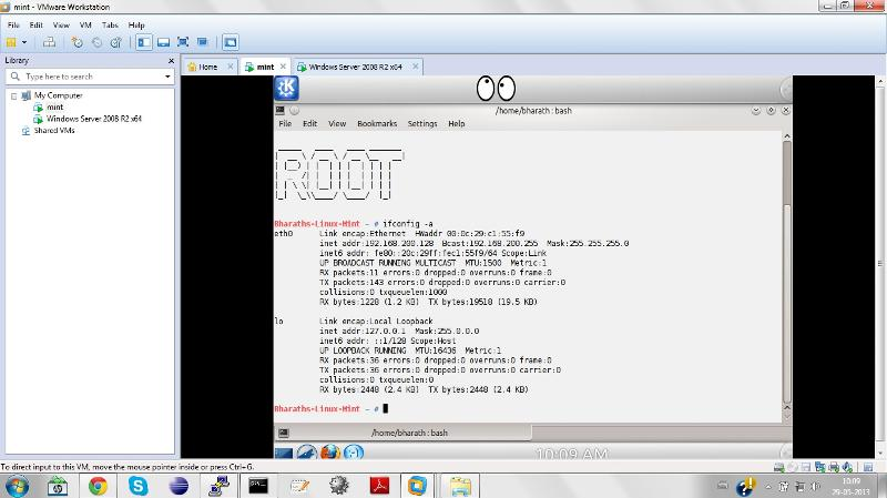 VM1_Linux Mint Ip address