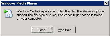 Windows Media Player error when playing MPG file
