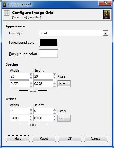 gimp configure grid
