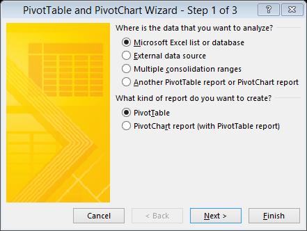 PivotTable and PivotChart Wizard