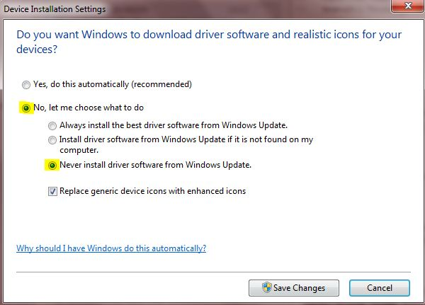 Disable driver auto update