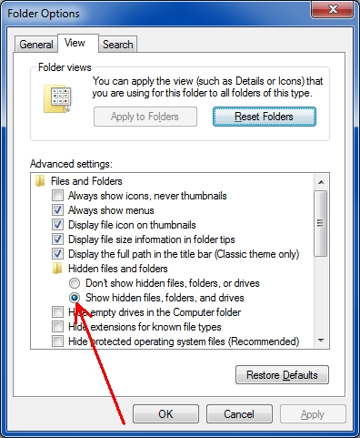 show hidden files folders drives