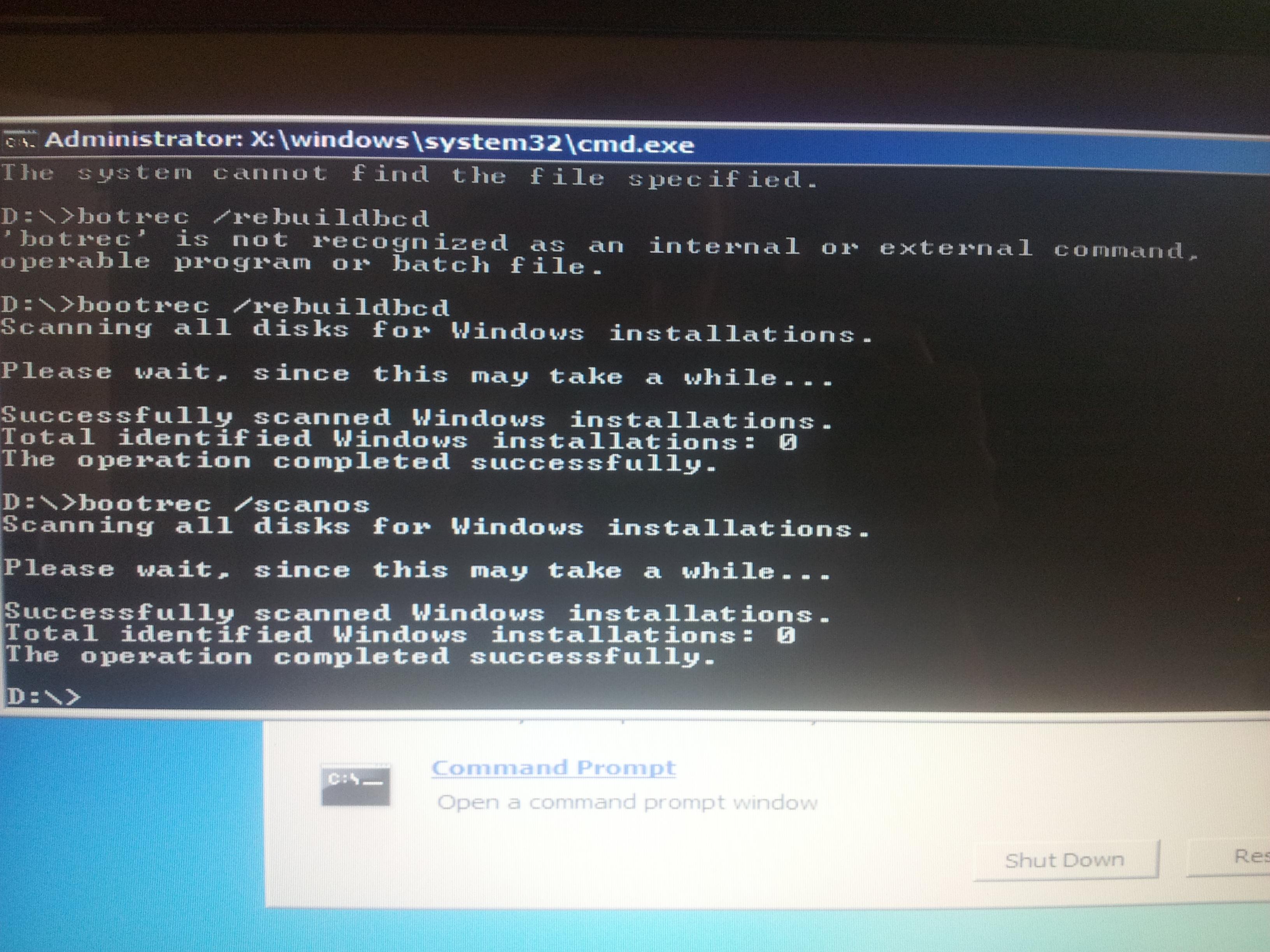 Bootrec Total Identified Windows Installations 0