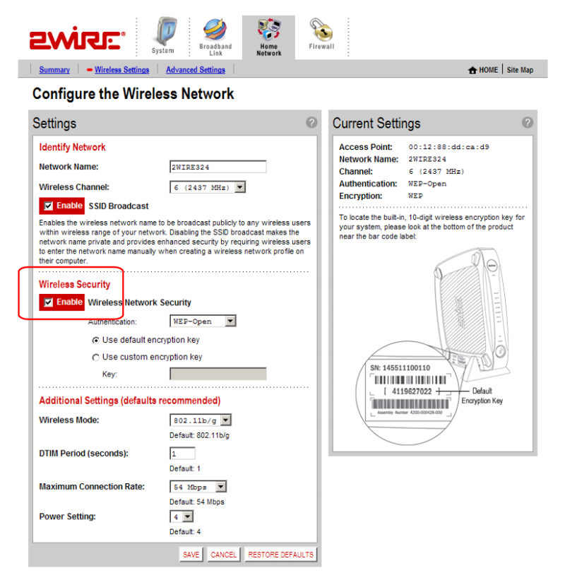 2wire - 3800HGV-B - Disable Wireless Security (click for larger)