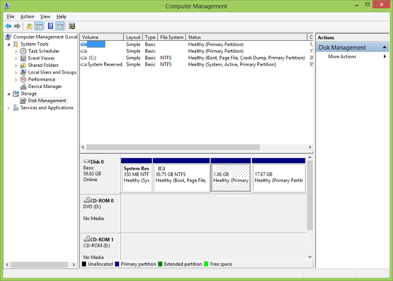 Disk Management Screen Shot