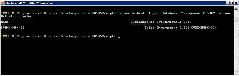 "Troubleshoot-CI.ps1 -Database ""Management 2.5GB"" -ActionDetectAndResolve"