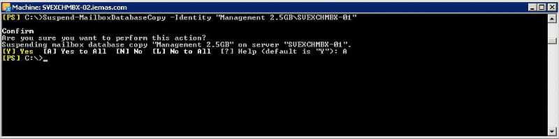"Suspend-MailboxDatabaseCopy -Identity ""Management 2.5GB\MBX01"""